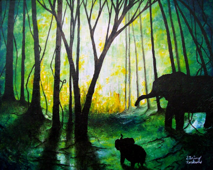 Trees, Elephants, And Their Shadows
