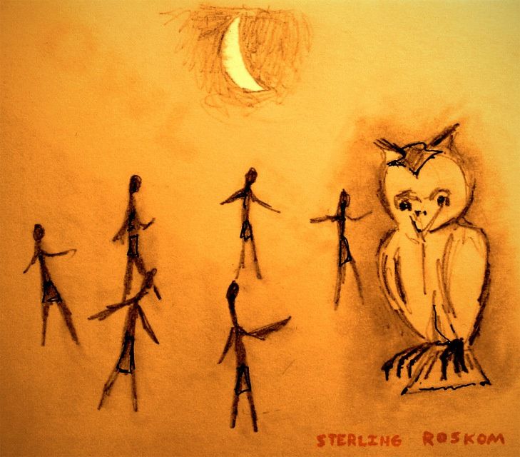 0168.stick people around owl.11.19.15